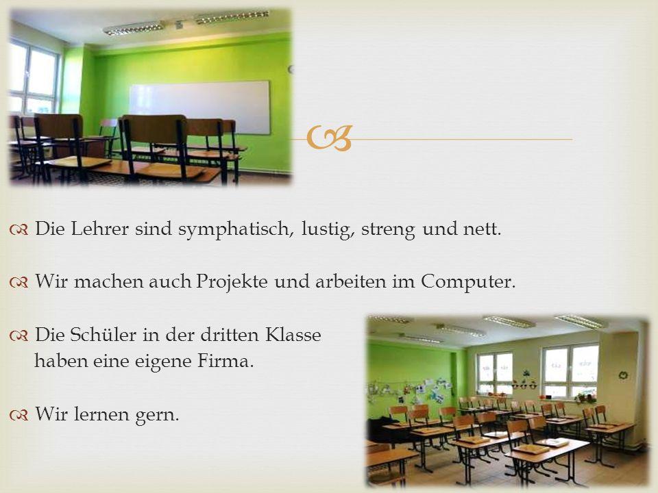   Die Lehrer sind symphatisch, lustig, streng und nett.