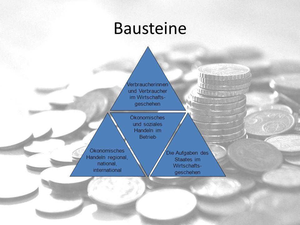 Bausteine Verbraucherinnen und Verbraucher im Wirtschafts- geschehen Ökonomisches und soziales Handeln im Betrieb Die Aufgaben des Staates im Wirtscha