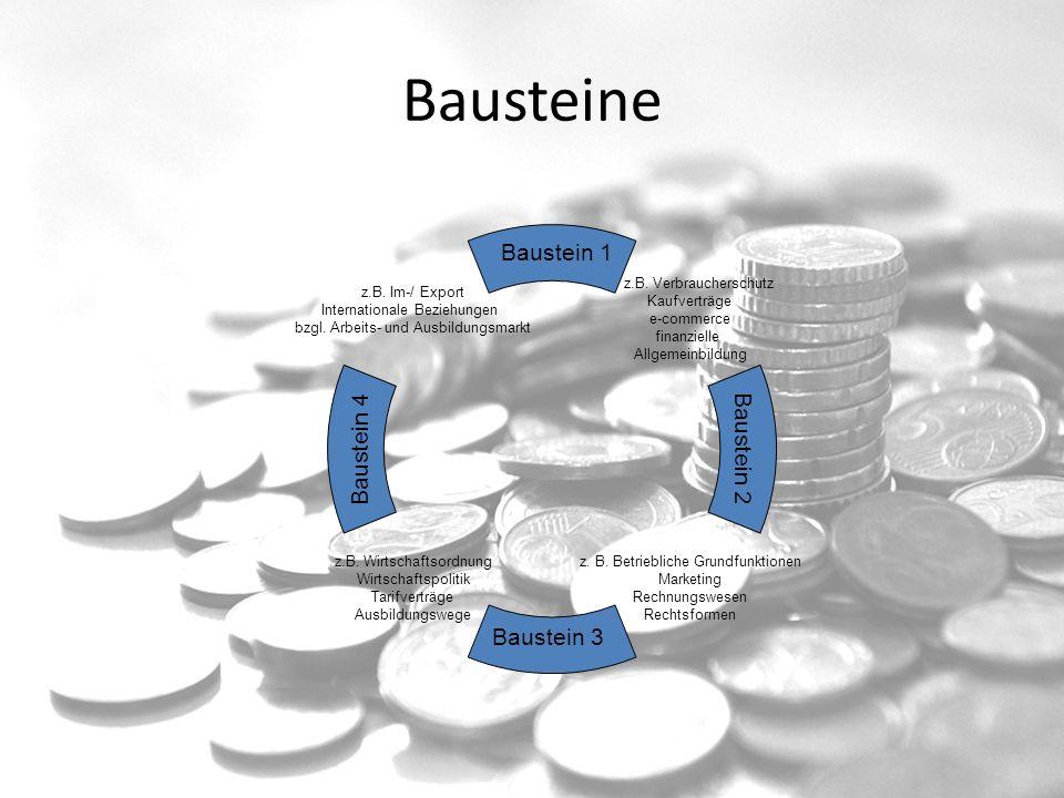 Bausteine z.B. Verbraucherschutz Kaufverträge e-commerce finanzielle Allgemeinbildung z.B. Wirtschaftsordnung Wirtschaftspolitik Tarifverträge Ausbild