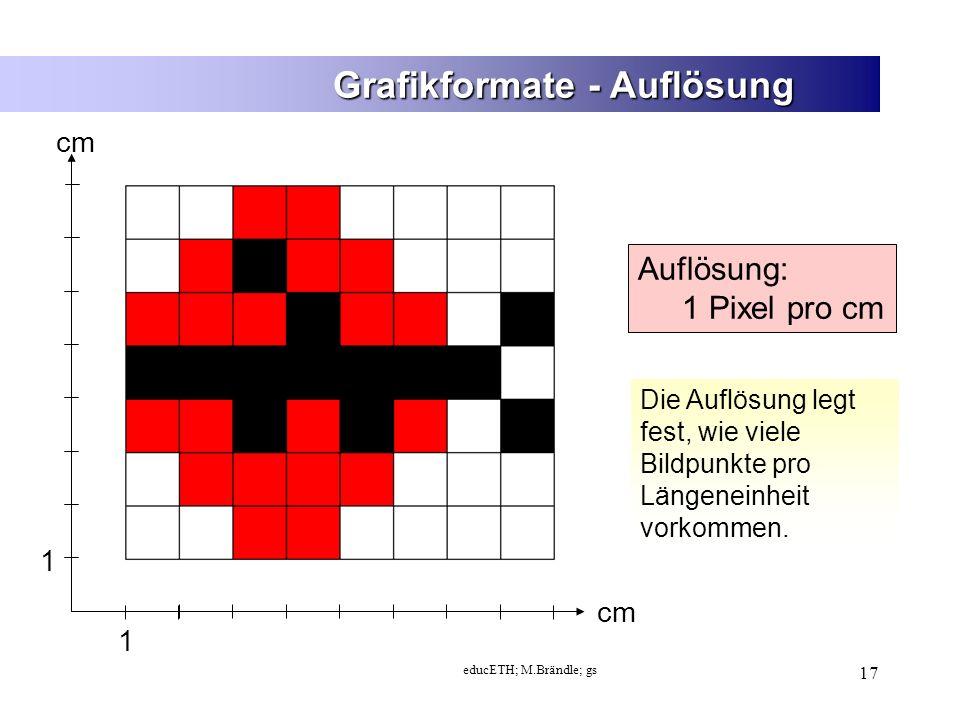 educETH; M.Brändle; gs 17 Grafikformate - Auflösung 1 1 cm Auflösung: 1 Pixel pro cm Die Auflösung legt fest, wie viele Bildpunkte pro Längeneinheit vorkommen.