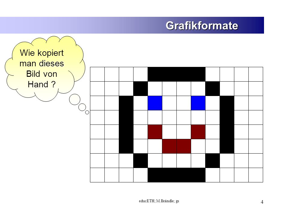educETH; M.Brändle; gs 25 Grafikformate - Farbtiefe Wie viel Speicher braucht mein Bild.