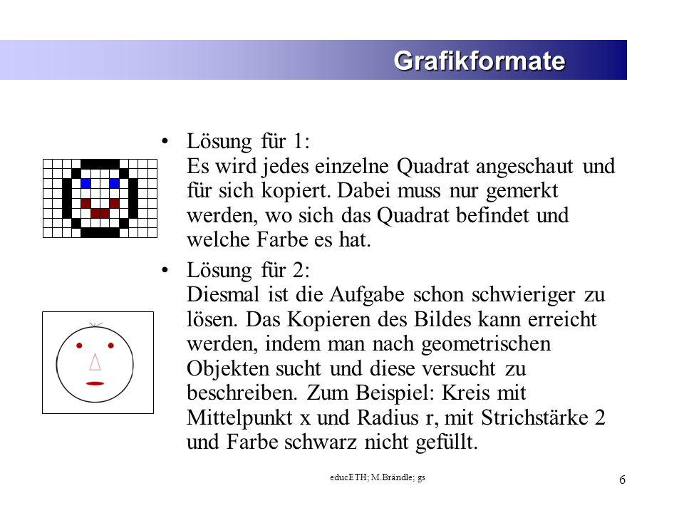 educETH; M.Brändle; gs 7 Grafikformate 1.Bild mit Hilfe eines Rasters von Punkten beschreiben 2.Bild in geometrische Objekte unterteilen Bitmap-Grafik Vektorgrafik 2 Lösungen: