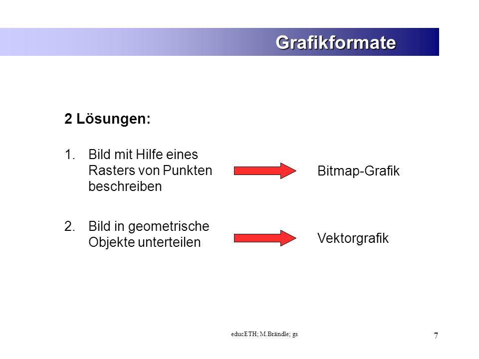 educETH; M.Brändle; gs 18 Grafikformate - Auflösung niedrigmittelhoch Je höher die Auflösung umso besser das Bild.