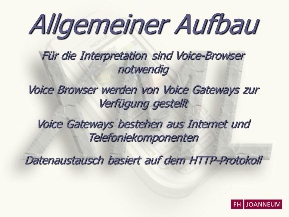 Allgemeiner Aufbau Für die Interpretation sind Voice-Browser notwendig Voice Browser werden von Voice Gateways zur Verfügung gestellt Voice Gateways b