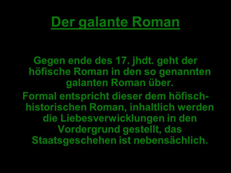 Der galante Roman Gegen ende des 17.jhdt.