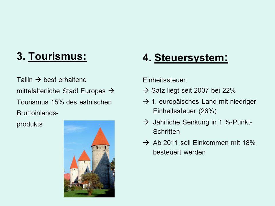 3. Tourismus: Tallin  best erhaltene mittelalterliche Stadt Europas  Tourismus 15% des estnischen Bruttoinlands- produkts 4. Steuersystem : Einheits