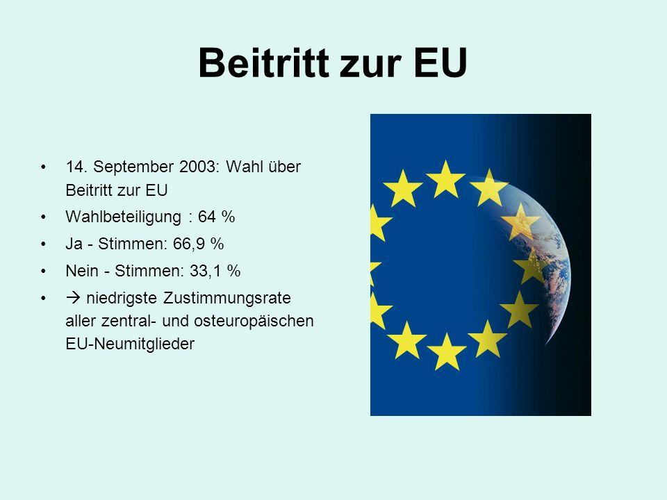 Beitritt zur EU 14. September 2003: Wahl über Beitritt zur EU Wahlbeteiligung : 64 % Ja - Stimmen: 66,9 % Nein - Stimmen: 33,1 %  niedrigste Zustimmu