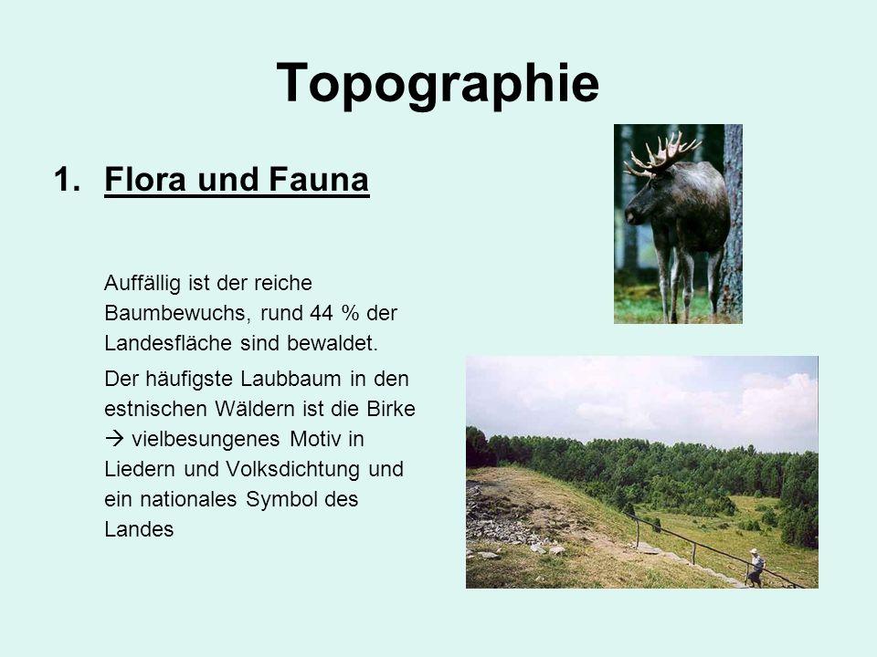 Topographie 1.Flora und Fauna Auffällig ist der reiche Baumbewuchs, rund 44 % der Landesfläche sind bewaldet. Der häufigste Laubbaum in den estnischen