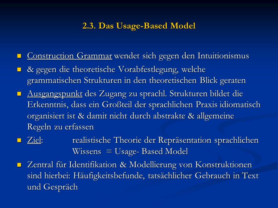 2.3. Das Usage-Based Model Construction Grammar wendet sich gegen den Intuitionismus Construction Grammar wendet sich gegen den Intuitionismus & gegen