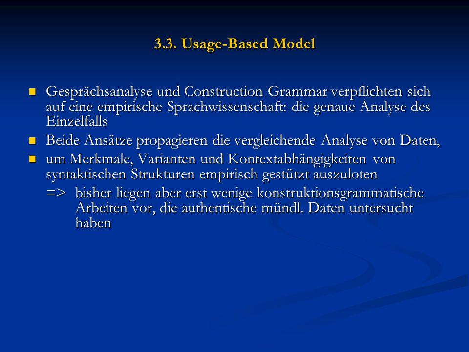 3.3. Usage-Based Model Gesprächsanalyse und Construction Grammar verpflichten sich auf eine empirische Sprachwissenschaft: die genaue Analyse des Einz