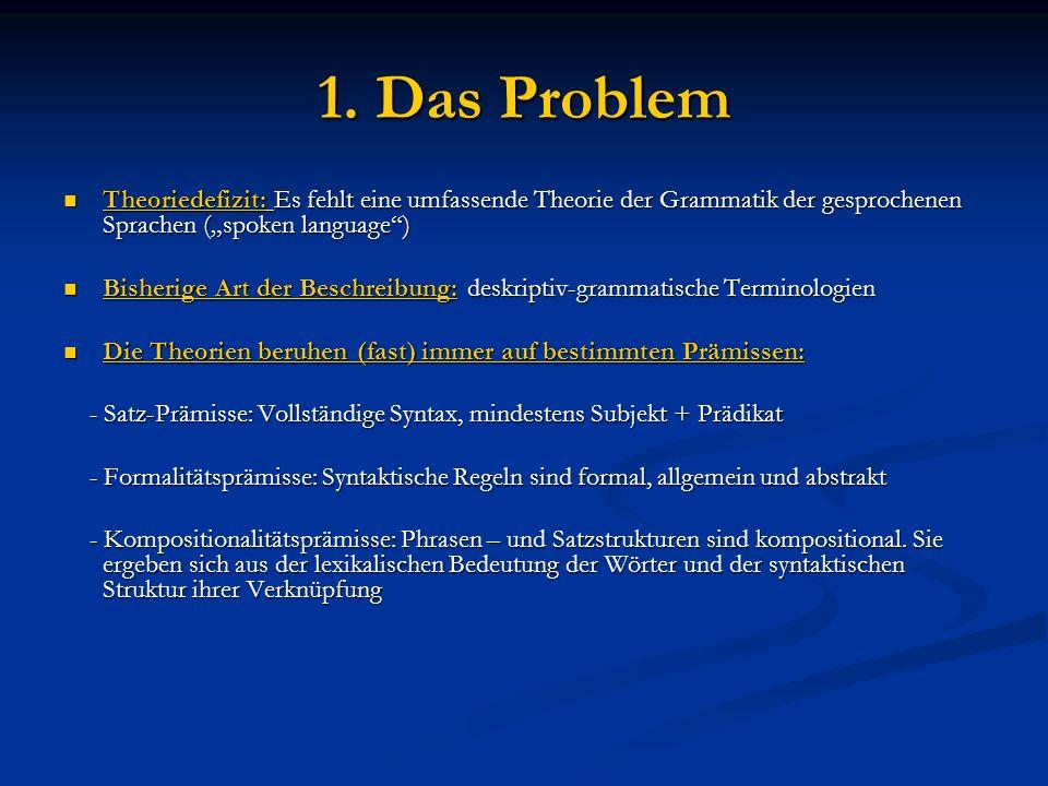 """1. Das Problem Theoriedefizit: Es fehlt eine umfassende Theorie der Grammatik der gesprochenen Sprachen (""""spoken language"""") Theoriedefizit: Es fehlt e"""