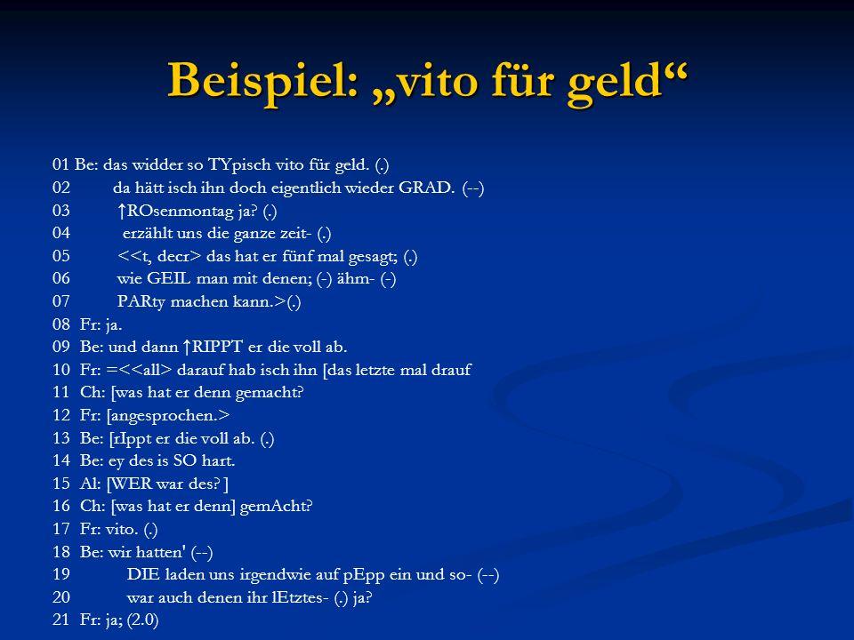 """Beispiel: """"vito für geld 01 Be: das widder so TYpisch vito für geld."""