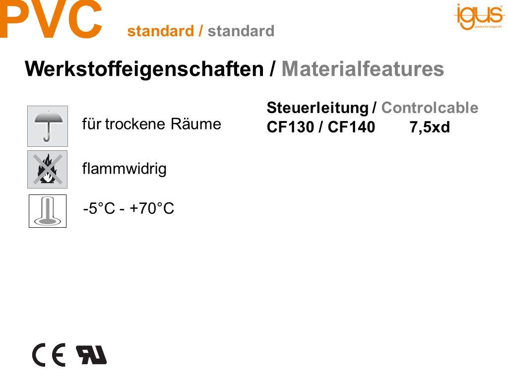 PVC flammwidrig -5°C - +70°C Steuerleitung / Controlcable CF130 / CF1407,5xd für trockene Räume Werkstoffeigenschaften / Materialfeatures standard / s