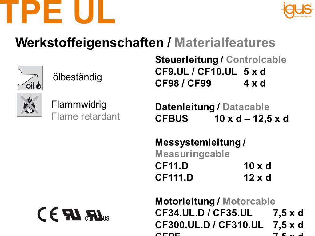 TPE UL ölbeständig Werkstoffeigenschaften / Materialfeatures Flammwidrig Flame retardant Steuerleitung / Controlcable CF9.UL / CF10.UL5 x d CF98 / CF9