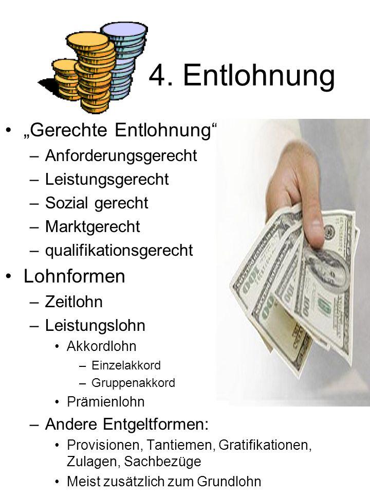 """4. Entlohnung """"Gerechte Entlohnung"""" –Anforderungsgerecht –Leistungsgerecht –Sozial gerecht –Marktgerecht –qualifikationsgerecht Lohnformen –Zeitlohn –"""