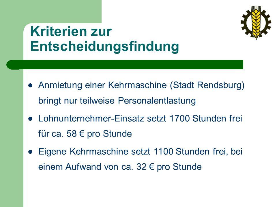 Kriterien zur Entscheidungsfindung Anmietung einer Kehrmaschine (Stadt Rendsburg) bringt nur teilweise Personalentlastung Lohnunternehmer-Einsatz setzt 1700 Stunden frei für ca.
