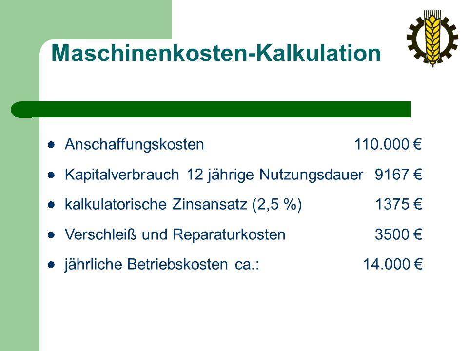 Maschinenkosten-Kalkulation Anschaffungskosten 110.000 € Kapitalverbrauch 12 jährige Nutzungsdauer 9167 € kalkulatorische Zinsansatz (2,5 %) 1375 € Verschleiß und Reparaturkosten 3500 € jährliche Betriebskosten ca.: 14.000 €