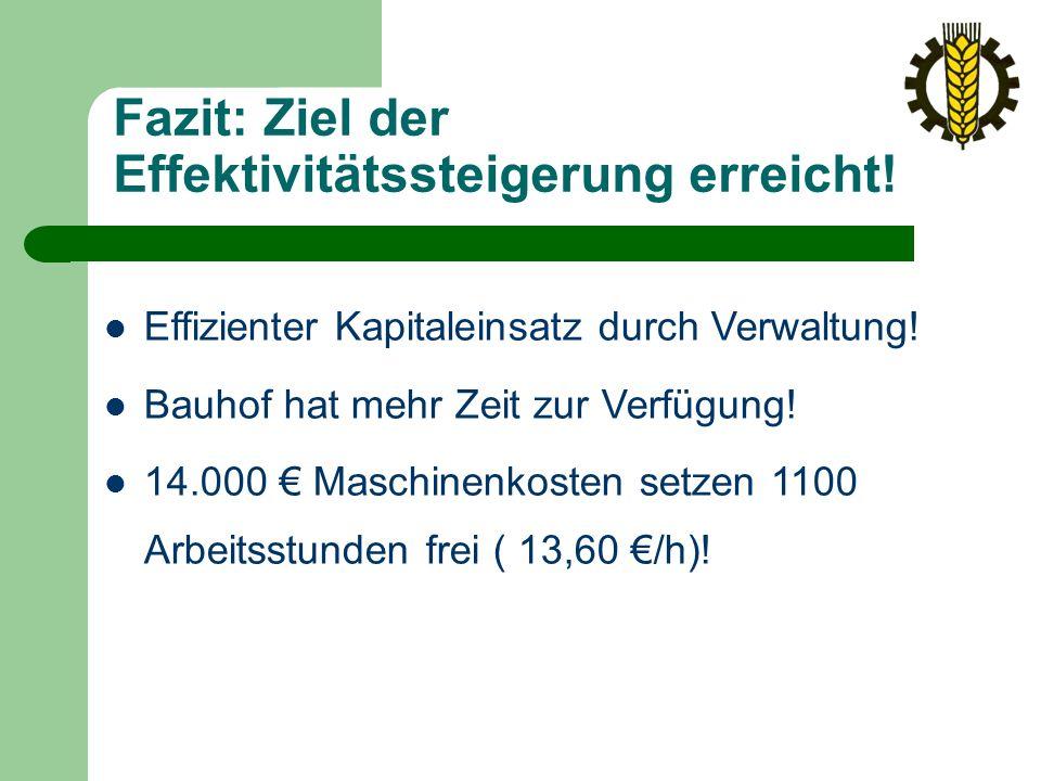 Fazit: Ziel der Effektivitätssteigerung erreicht. Effizienter Kapitaleinsatz durch Verwaltung.