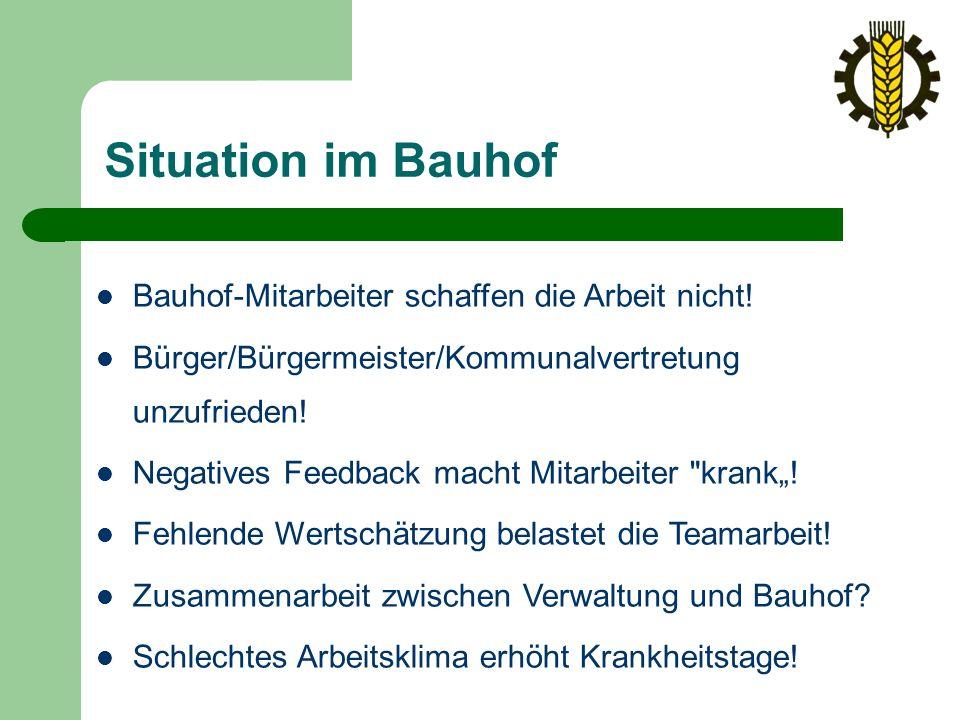 Situation im Bauhof Bauhof-Mitarbeiter schaffen die Arbeit nicht.