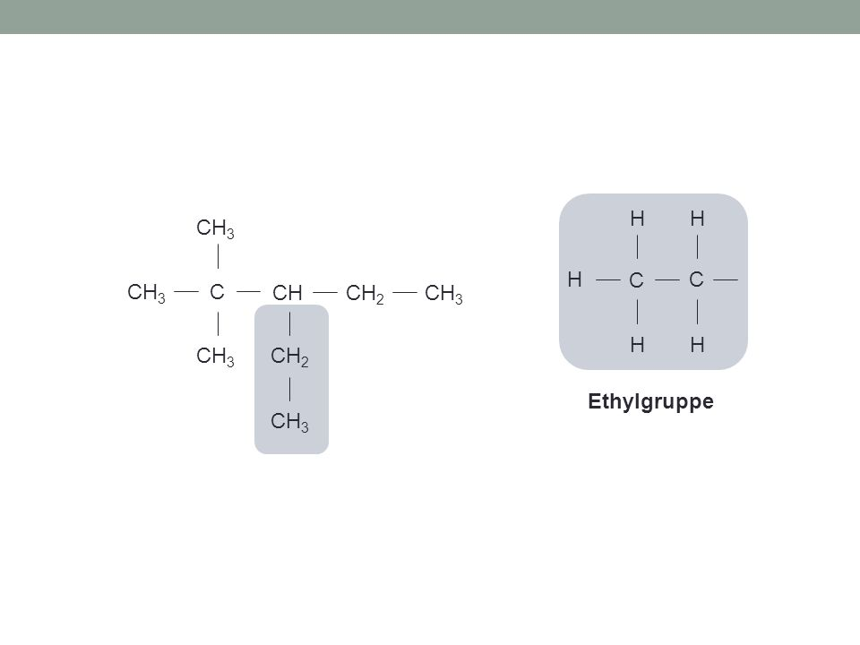 C H H H C H H Ethylgruppe C CHCH 2 CH 3 CH 2 CH 3