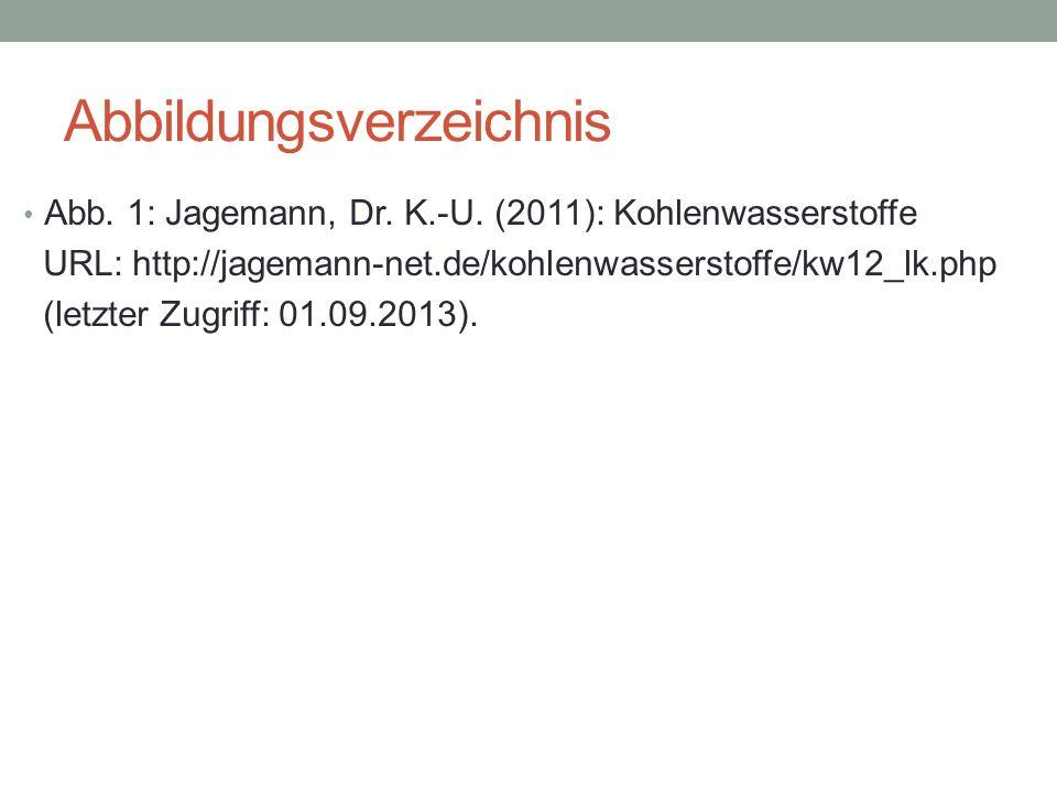 Abbildungsverzeichnis Abb. 1: Jagemann, Dr. K.-U. (2011): Kohlenwasserstoffe URL: http://jagemann-net.de/kohlenwasserstoffe/kw12_lk.php (letzter Zugri