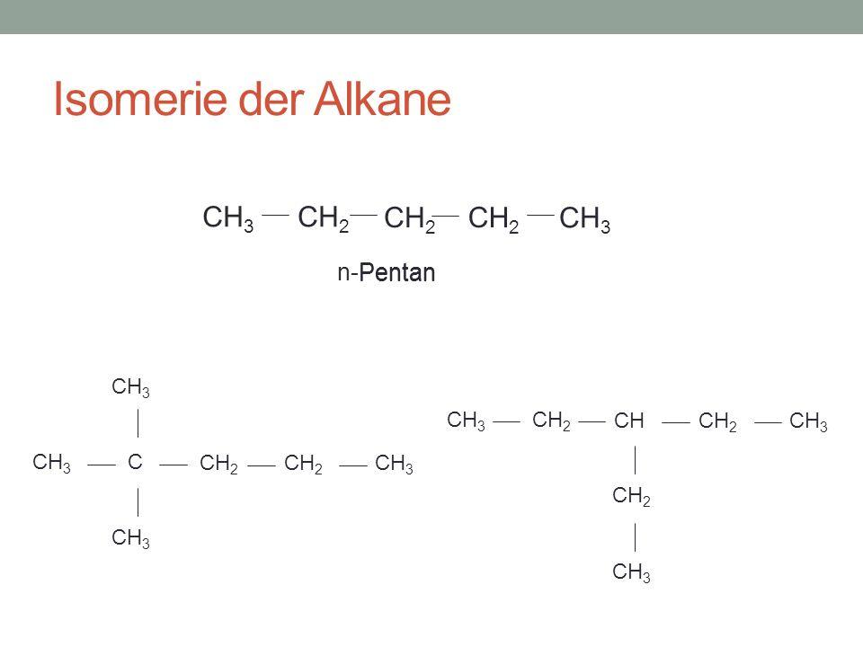 Isomerie der Alkane CH 2 CH 3 Pentan C CH 2 CH 3 CH 2 CHCH 2 CH 3 CH 2 CH 3 n-Pentan