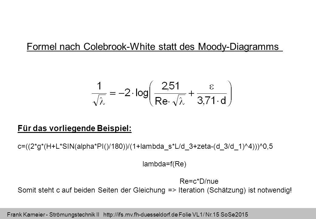 Frank Kameier - Strömungstechnik II http://ifs.mv.fh-duesseldorf.de Folie VL1/ Nr.15 SoSe2015 Formel nach Colebrook-White statt des Moody-Diagramms Fü