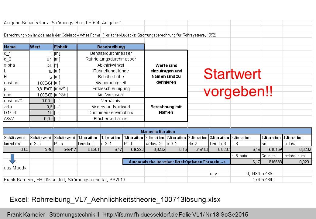 Frank Kameier - Strömungstechnik II http://ifs.mv.fh-duesseldorf.de Folie VL1/ Nr.18 SoSe2015 Excel: Rohrreibung_VL7_Aehnlichkeitstheorie_100713lösung