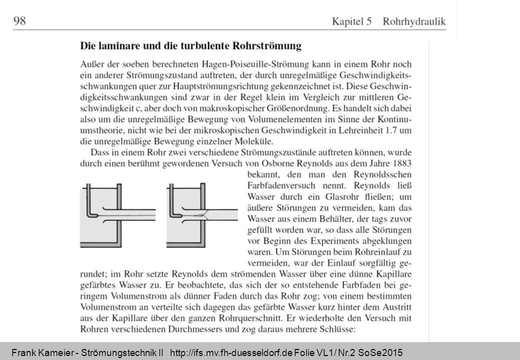 Frank Kameier - Strömungstechnik II http://ifs.mv.fh-duesseldorf.de Folie VL1/ Nr.2 SoSe2015