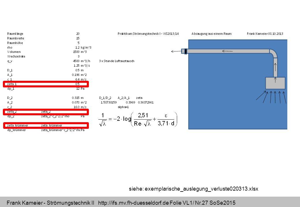 Frank Kameier - Strömungstechnik II http://ifs.mv.fh-duesseldorf.de Folie VL1/ Nr.27 SoSe2015 siehe: exemplarische_auslegung_verluste020313.xlsx