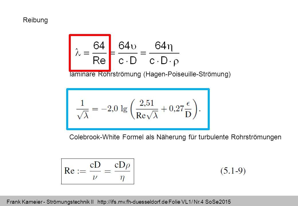 Frank Kameier - Strömungstechnik II http://ifs.mv.fh-duesseldorf.de Folie VL1/ Nr.4 SoSe2015 Reibung Colebrook-White Formel als Näherung für turbulent