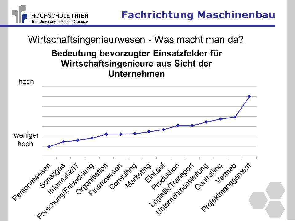 Fachrichtung Maschinenbau weniger hoch Wirtschaftsingenieurwesen - Was macht man da?