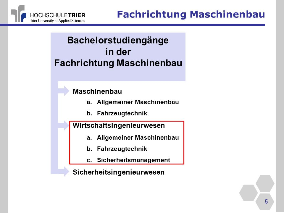 Fachrichtung Maschinenbau 26 Sicherheitsingenieurwesen