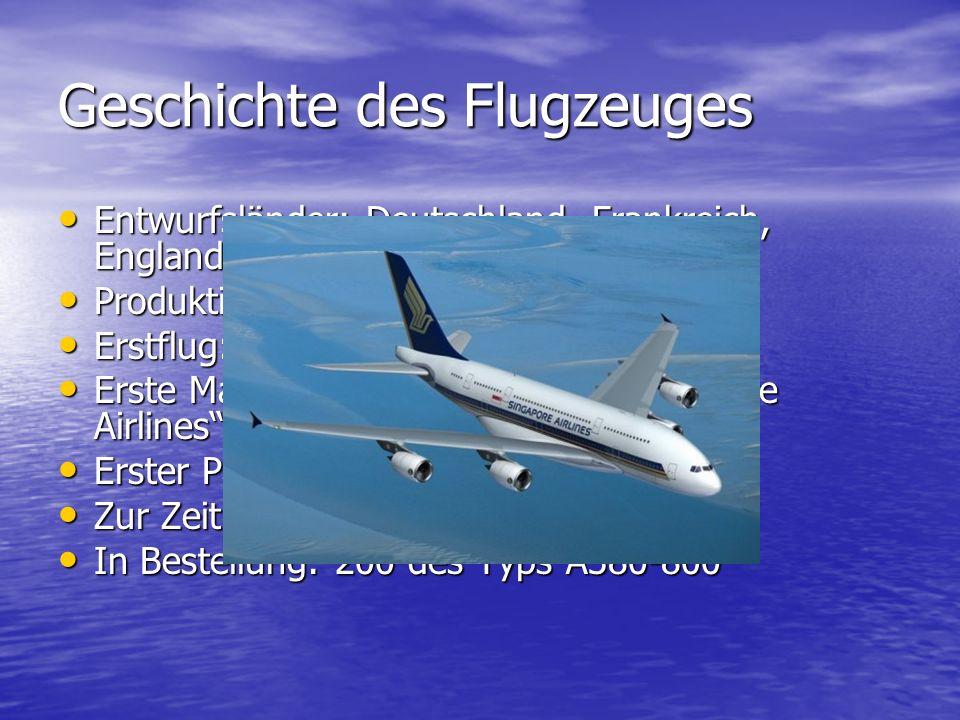 Geschichte des Flugzeuges Entwurfsländer: Deutschland, Frankreich, England und Spanien (seit 1980) Entwurfsländer: Deutschland, Frankreich, England un