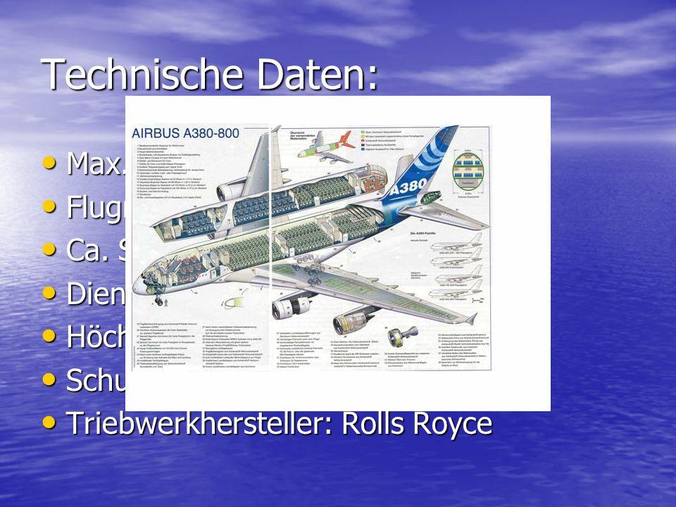 Technische Daten: Max. Tankkapazität: 310.000l Max. Tankkapazität: 310.000l Flugreichweite: 12.200 km Flugreichweite: 12.200 km Ca. Startrollstrecke: