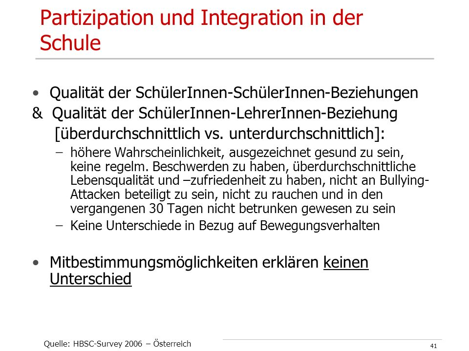 UPH Graz – GF im Setting Schule - Mag. Doris Kuhness41 Partizipation und Integration in der Schule Qualität der SchülerInnen-SchülerInnen-Beziehungen