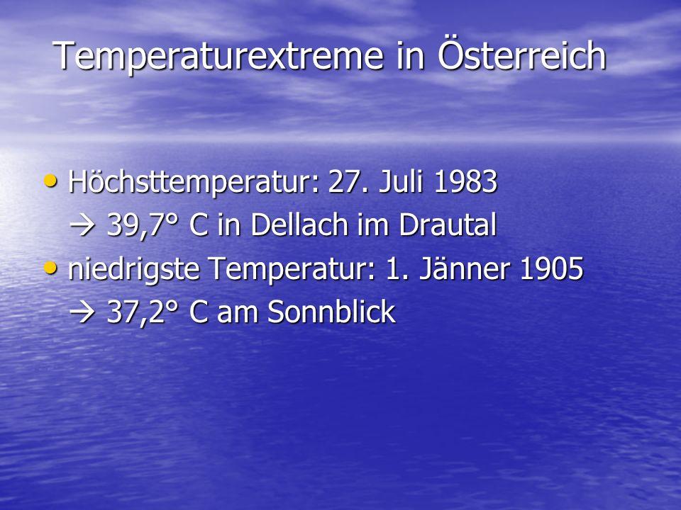 Temperaturextreme in Österreich Höchsttemperatur: 27.