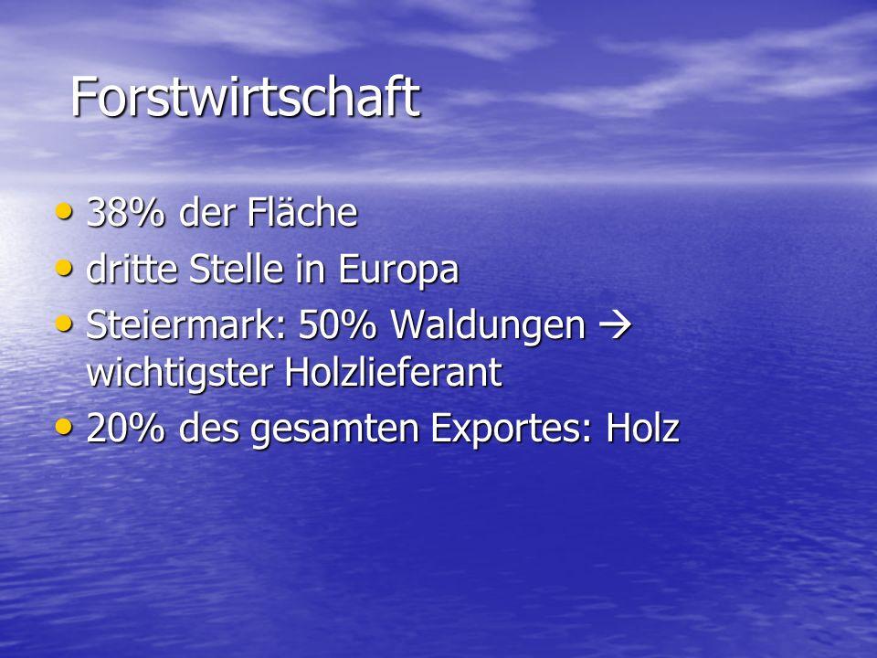 Forstwirtschaft Forstwirtschaft 38% der Fläche 38% der Fläche dritte Stelle in Europa dritte Stelle in Europa Steiermark: 50% Waldungen  wichtigster Holzlieferant Steiermark: 50% Waldungen  wichtigster Holzlieferant 20% des gesamten Exportes: Holz 20% des gesamten Exportes: Holz