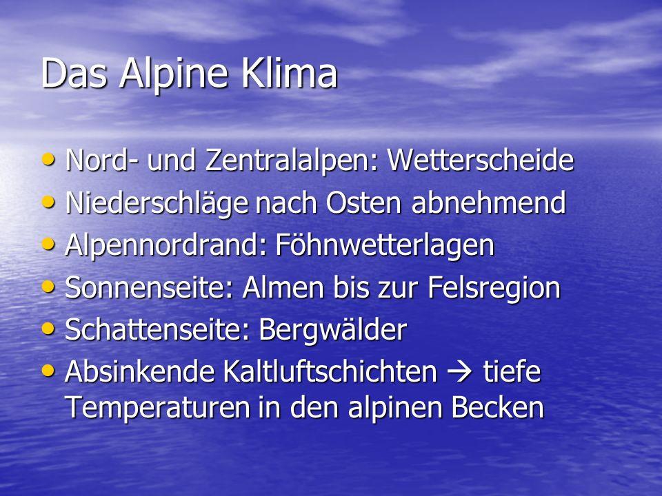 Das Alpine Klima Nord- und Zentralalpen: Wetterscheide Nord- und Zentralalpen: Wetterscheide Niederschläge nach Osten abnehmend Niederschläge nach Osten abnehmend Alpennordrand: Föhnwetterlagen Alpennordrand: Föhnwetterlagen Sonnenseite: Almen bis zur Felsregion Sonnenseite: Almen bis zur Felsregion Schattenseite: Bergwälder Schattenseite: Bergwälder Absinkende Kaltluftschichten  tiefe Temperaturen in den alpinen Becken Absinkende Kaltluftschichten  tiefe Temperaturen in den alpinen Becken