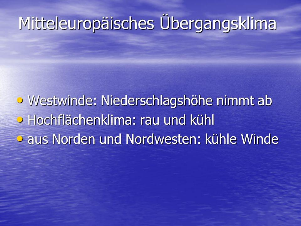 Mitteleuropäisches Übergangsklima Westwinde: Niederschlagshöhe nimmt ab Westwinde: Niederschlagshöhe nimmt ab Hochflächenklima: rau und kühl Hochflächenklima: rau und kühl aus Norden und Nordwesten: kühle Winde aus Norden und Nordwesten: kühle Winde