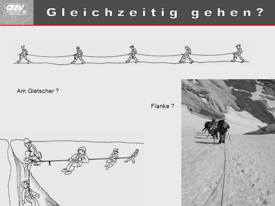 Zweierseilschaft, bergab, 10 m Abstand, 30° steiler Firnhang, mit Steigeisen, Gewicht: 80 kg.