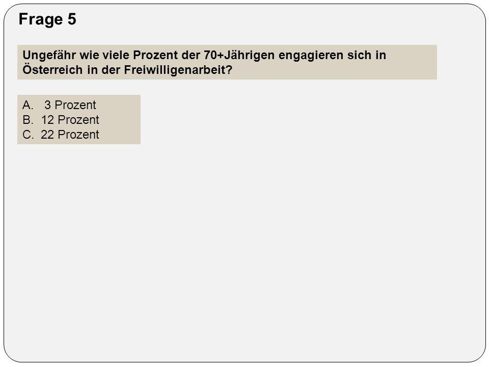 Frage 5 Ungefähr wie viele Prozent der 70+Jährigen engagieren sich in Österreich in der Freiwilligenarbeit? A. 3 Prozent B.12 Prozent C.22 Prozent