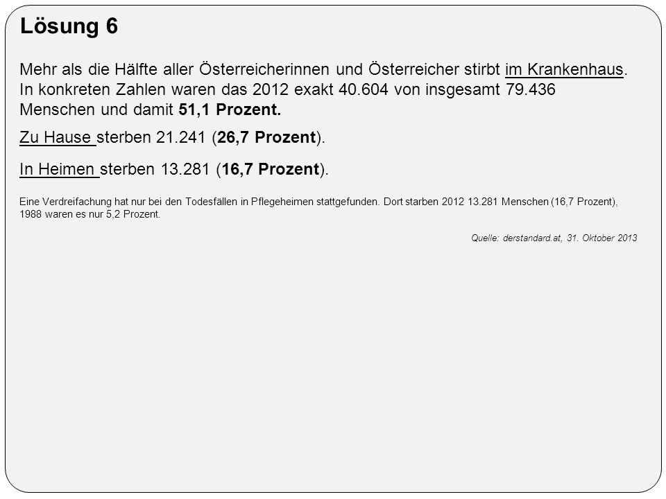 Lösung 6 Mehr als die Hälfte aller Österreicherinnen und Österreicher stirbt im Krankenhaus. In konkreten Zahlen waren das 2012 exakt 40.604 von insge