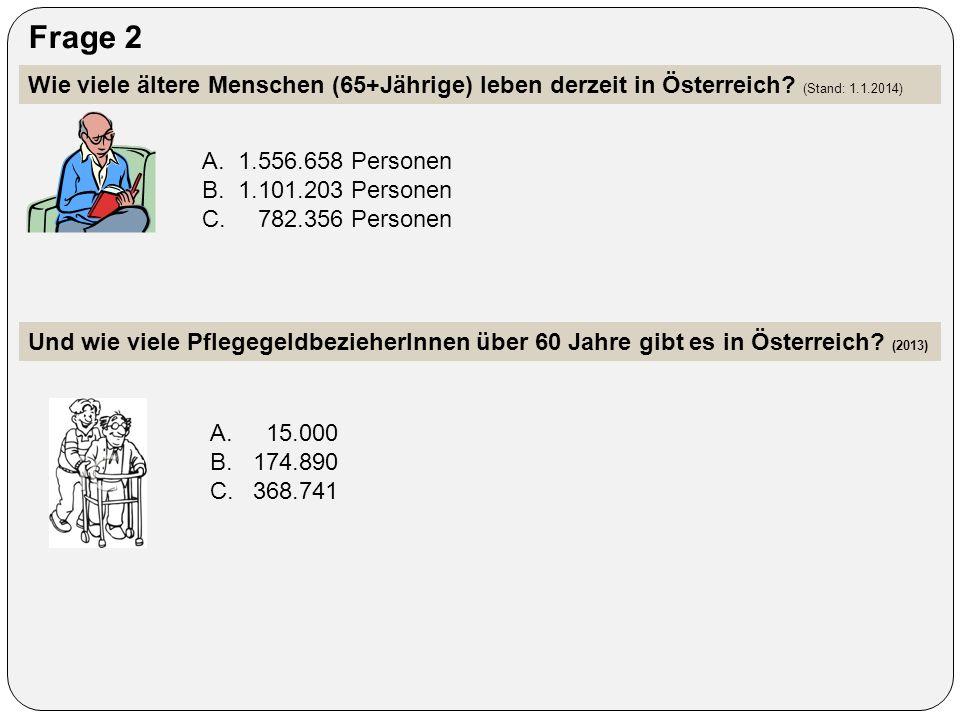 Frage 2 Wie viele ältere Menschen (65+Jährige) leben derzeit in Österreich? (Stand: 1.1.2014) A.1.556.658 Personen B.1.101.203 Personen C. 782.356 Per