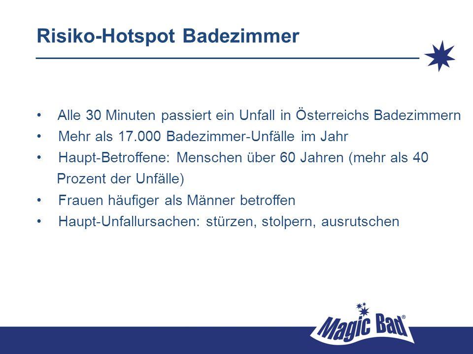 Risiko-Hotspot Badezimmer Alle 30 Minuten passiert ein Unfall in Österreichs Badezimmern Mehr als 17.000 Badezimmer-Unfälle im Jahr Haupt-Betroffene: