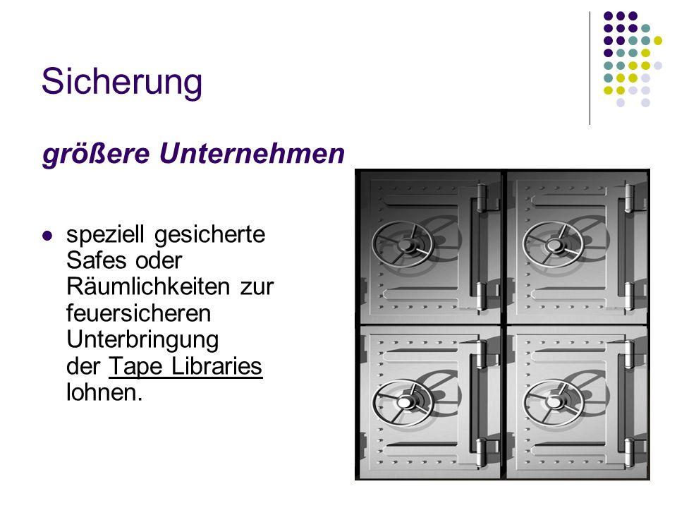 Bandlaufwerk-Bibliotheken Ein oder mehrere Bandlaufwerke Große Datenmengen (Wechsel der Bänder wird mit der Software gesteuert)