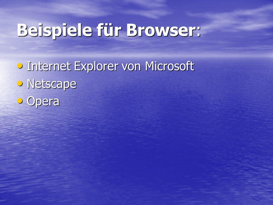 Beispiele für Browser: Internet Explorer von Microsoft Internet Explorer von Microsoft Netscape Netscape Opera Opera