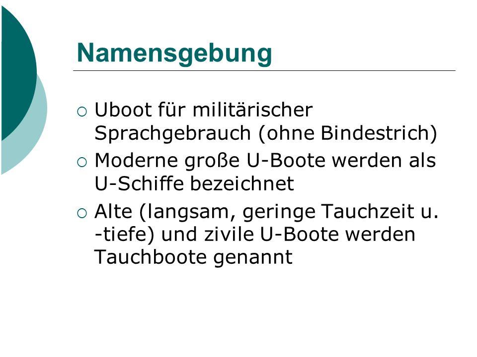 Namensgebung  Uboot für militärischer Sprachgebrauch (ohne Bindestrich)  Moderne große U-Boote werden als U-Schiffe bezeichnet  Alte (langsam, geri