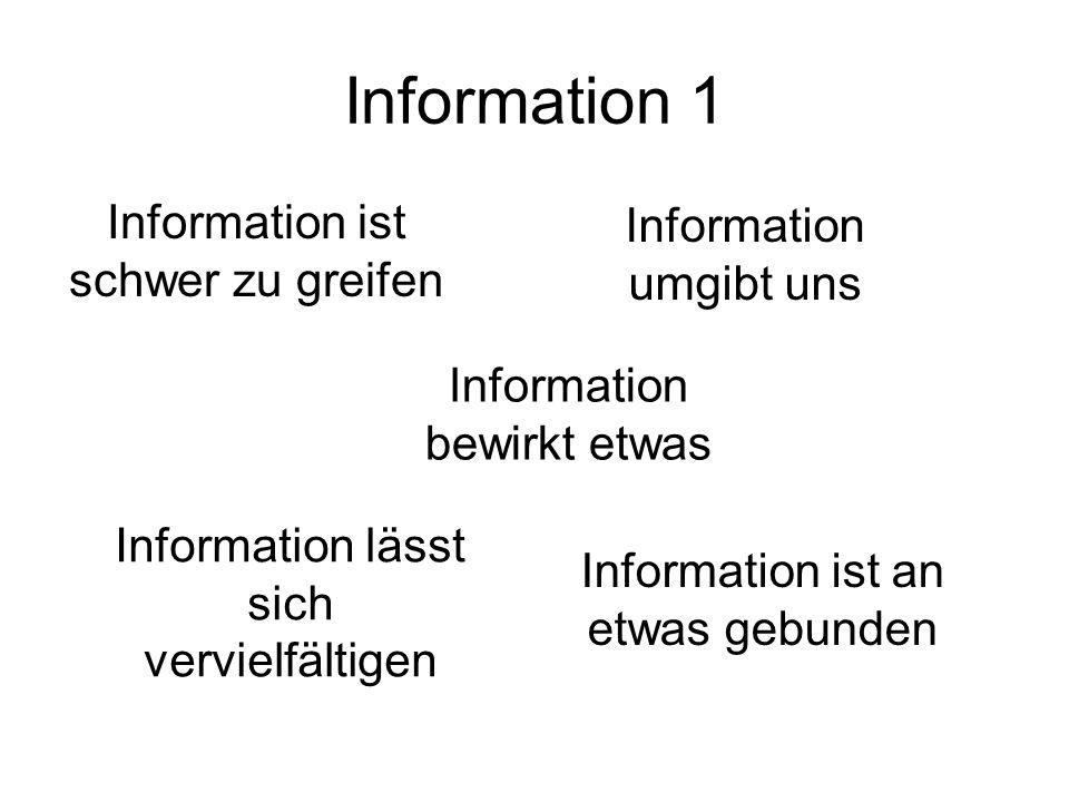 Information 1 Information ist schwer zu greifen Information umgibt uns Information bewirkt etwas Information lässt sich vervielfältigen Information is