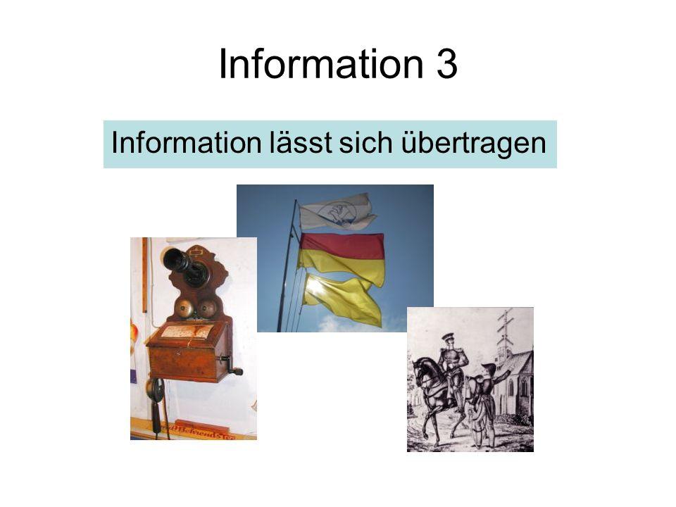 Information 3 Information lässt sich übertragen